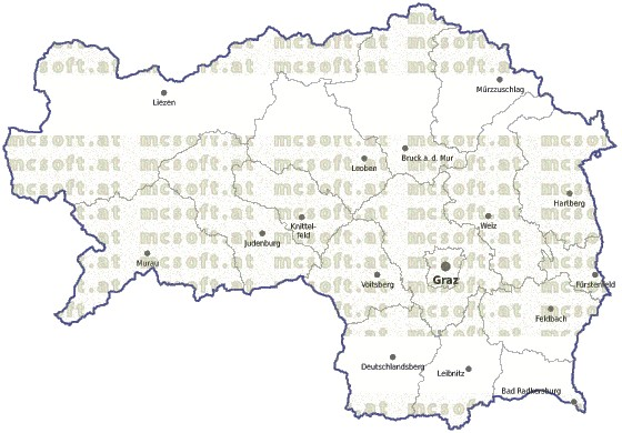 Steiermark Karte Flüsse.Mcsoft Steiermark Vektor Landkarte